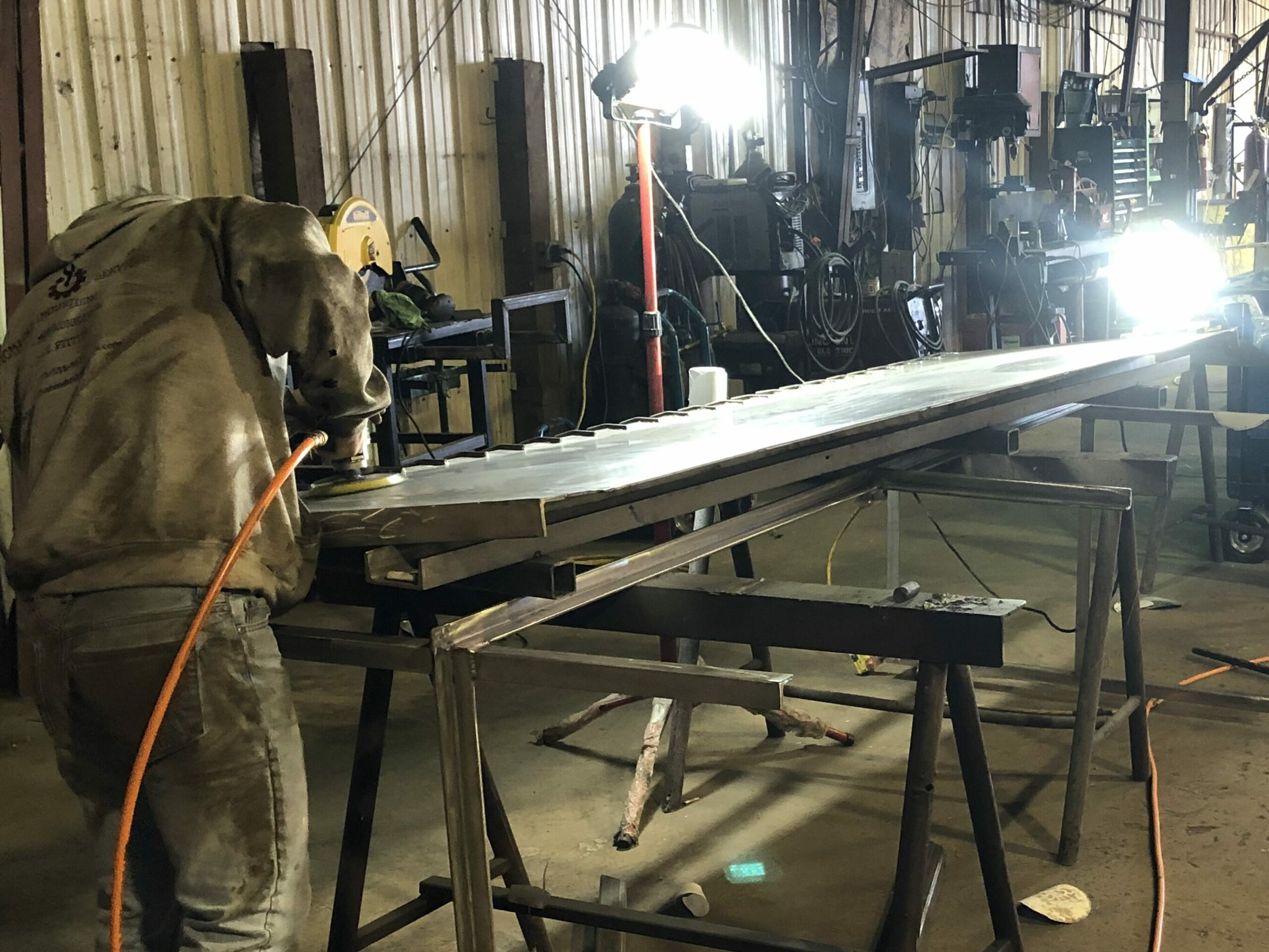 buffing stainless steel table top