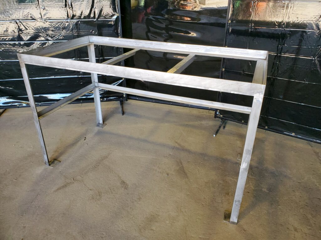 custom fabricated cutting table for food processing plant